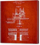 Method Of Drilling Wells Patent From 1906 - Red Canvas Print