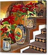 Mexican Pottery On Staircase Canvas Print