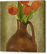 Mexican Water Jug With Poppies Canvas Print