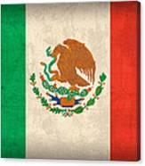 Mexico Flag Vintage Distressed Finish Canvas Print