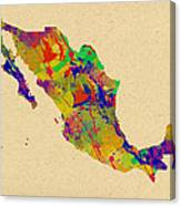 Mexico Map Watercolor Canvas Print