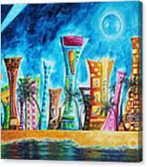 Miami City South Beach Original Painting Tropical Cityscape Art Miami Night Life By Madart Absolut X Canvas Print