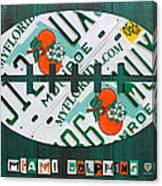 Miami Dolphins Football Recycled License Plate Art Canvas Print