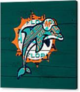 Miami Dolphins Football Team Retro Logo Florida License Plate Art Canvas Print