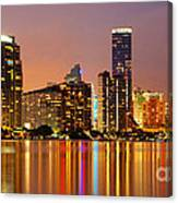 Miami Skyline At Dusk Canvas Print