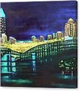 Miami Skyline Of Lights Canvas Print