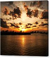 Miami Skyline Sunset Canvas Print