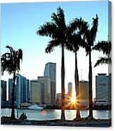 Miami Skyline Viewed Over Marina Canvas Print