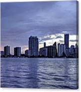 Miami Skyline Waves Canvas Print