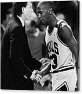 Michael Jordan Talks With Coach Canvas Print