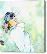 Michelle Wie Hits Her Tee Shot On The Sixth Hole Canvas Print
