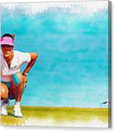 Michelle Wie Lines Up A Putt On The Eighth Green Canvas Print