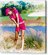 Michelle Wie Plays A Shot On The 6th Hole Canvas Print