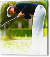 Michelle Wie  Putt On The Tenth Green Canvas Print