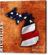 Michigan Amercian Flag State Map Canvas Print