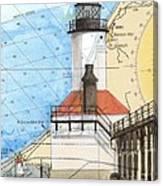 Michigan City Lighthouse In Nautical Chart Map Art Cathy Peek Canvas Print