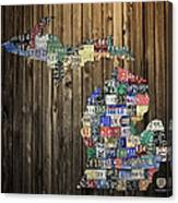Michigan Counties State License Plate Map Canvas Print