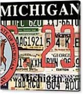 Michigan License Plate Canvas Print