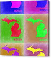 Michigan Pop Art Map 2 Canvas Print