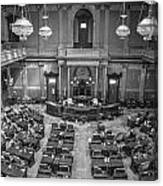 Michigan Tate Senate Black And White From Above Canvas Print