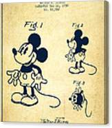 Mickey Mouse Patent Drawing From 1930 - Vintage Canvas Print