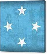 Micronesia Flag Vintage Distressed Finish Canvas Print