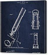 Microscope Patent Drawing From 1865 - Navy Blue Canvas Print