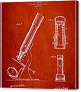 Microscope Patent Drawing From 1865 - Red Canvas Print