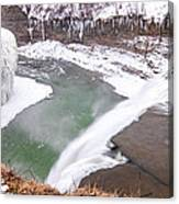 Middle Falls And Ice Feathers Canvas Print