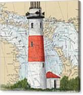 Middle Island Lighthouse Mi Cathy Peek Nautical Chart Art Canvas Print
