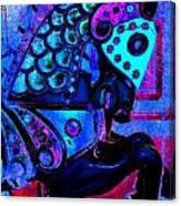 Midnight Blue Carousel Horse Canvas Print