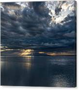 Midnight Clouds Over The Water Canvas Print