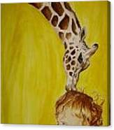 Mika And Giraffe Canvas Print