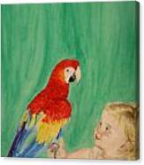 Mika And Parrot Canvas Print
