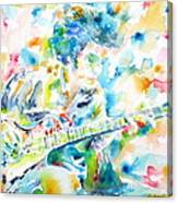 Mike Bloomfield Playing The Guitar - Watercolor Portrait Canvas Print
