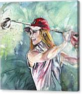 Miki Self Portrait Golfing Canvas Print