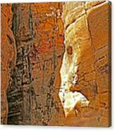 Mile-long Canyon Leads Through 600 Foot Deep Gorge To The Treasury In Petra-jordan Canvas Print