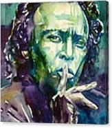 Miles Davis Watercolor Portrait.2 Canvas Print