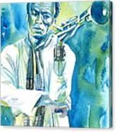 Miles Davis Watercolor Portrait.3 Canvas Print