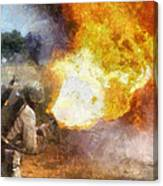 Military Flame Thrower Photo Art 01 Canvas Print