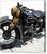 Military Style Bmw Motorcycle Canvas Print