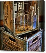 Milk Bottles And Crates Canvas Print