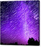Milky Way And Star Trails Canvas Print