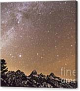 Milky Way Galaxy Over Teton Mountains Canvas Print