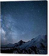 Milky Way Over Mount Rainier Canvas Print