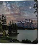 Milky Way Over Mt Rundle Canvas Print