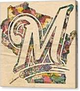 Milwaukee Brewers Poster Art Canvas Print