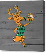 Milwaukee Bucks Basketball Team Logo Vintage Recycled Wisconsin License Plate Art Canvas Print