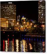 Milwaukee River And Downtown Skyline Canvas Print