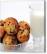 Mini Chocolate Chip Muffins And Milk - Bakery - Snack - Dairy - 1 Canvas Print